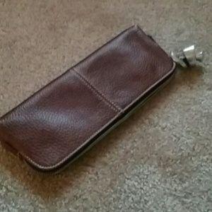 Latico brown pebble leather purse